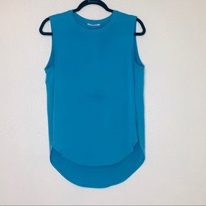 Tahari Turquoise Sleeveless High Low Blouse